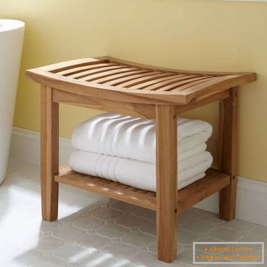 Wooden chair for the bathroom