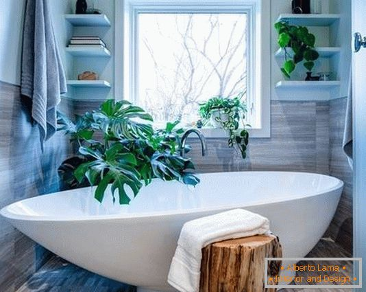 Small bathroom with green plants