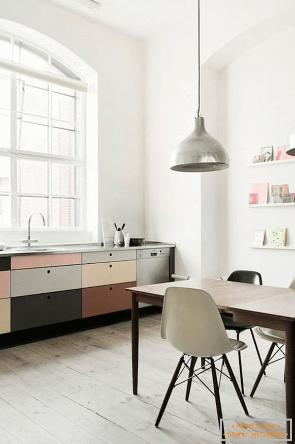 Small kitchen-office in pastel colors