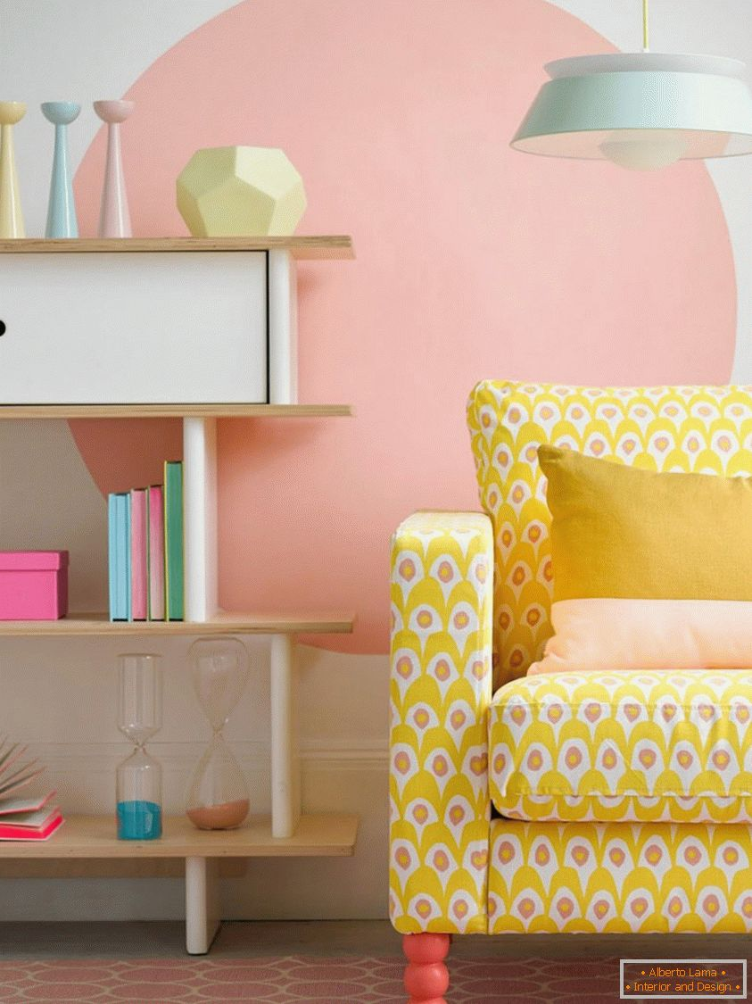 Bright yellow sofa, creates an excellent contrast in the pastel room