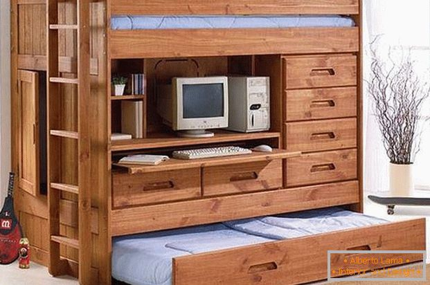 Bunk bed with cabinet
