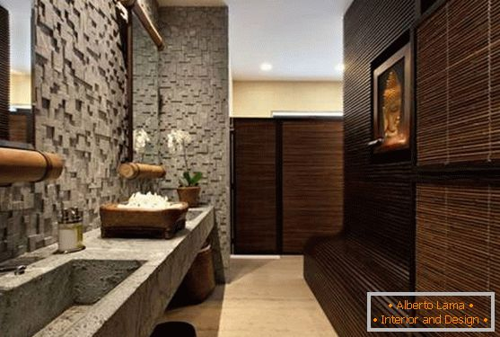 Bathroom with Asian motifs and natural textures
