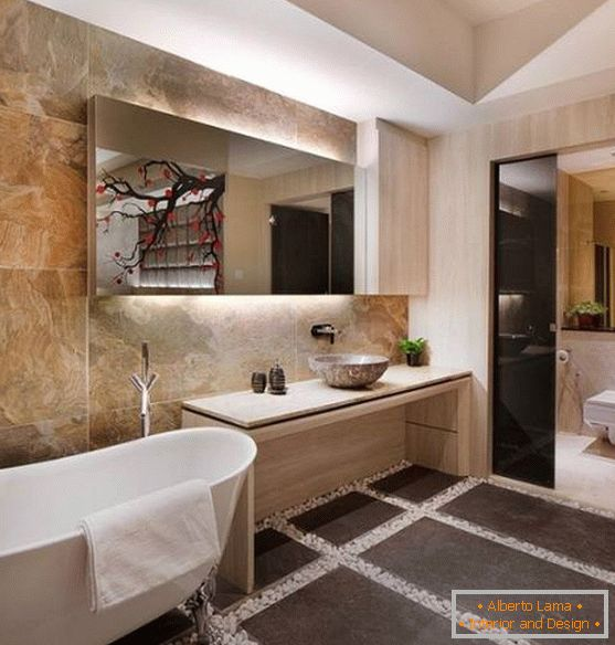 Minimalist design of a bathroom in Asian style