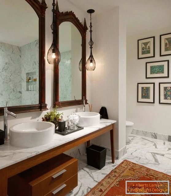 Design of a bathroom in Indian style