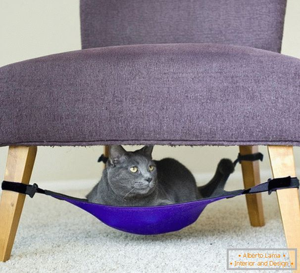 Hammock for the cat under the armchair