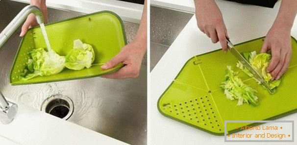 Folding cutting board-colander