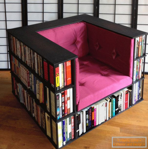 Armchair with cells for books