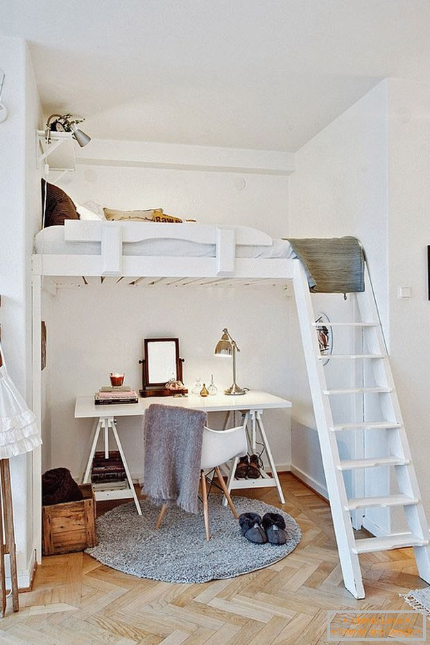 Cozy work place under a bunk bed