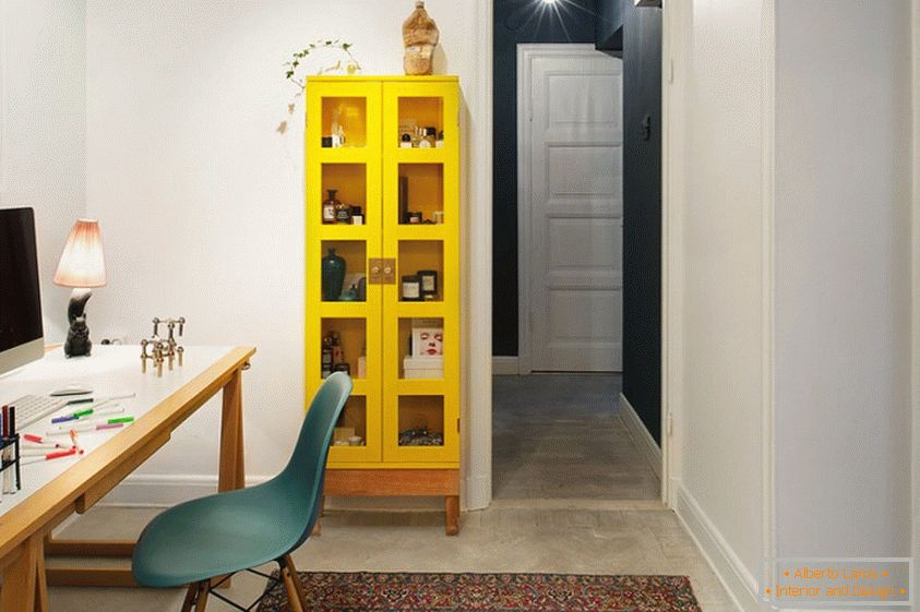 Bright yellow bookcase will refresh your office