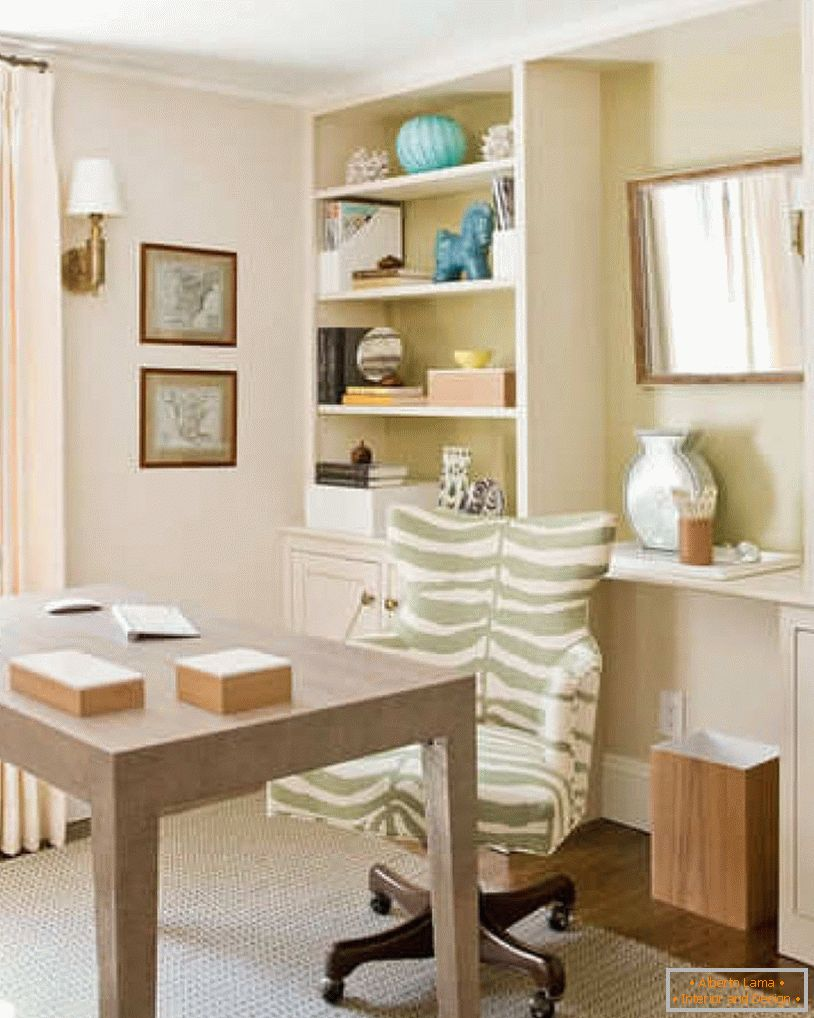 Home office in cream colors
