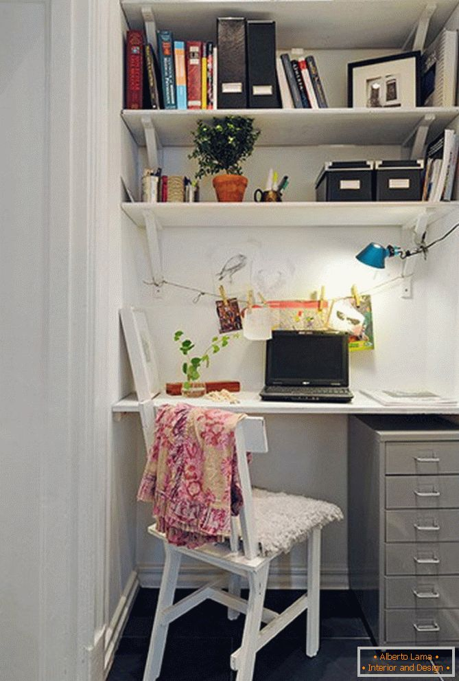 A small working place at home in a niche