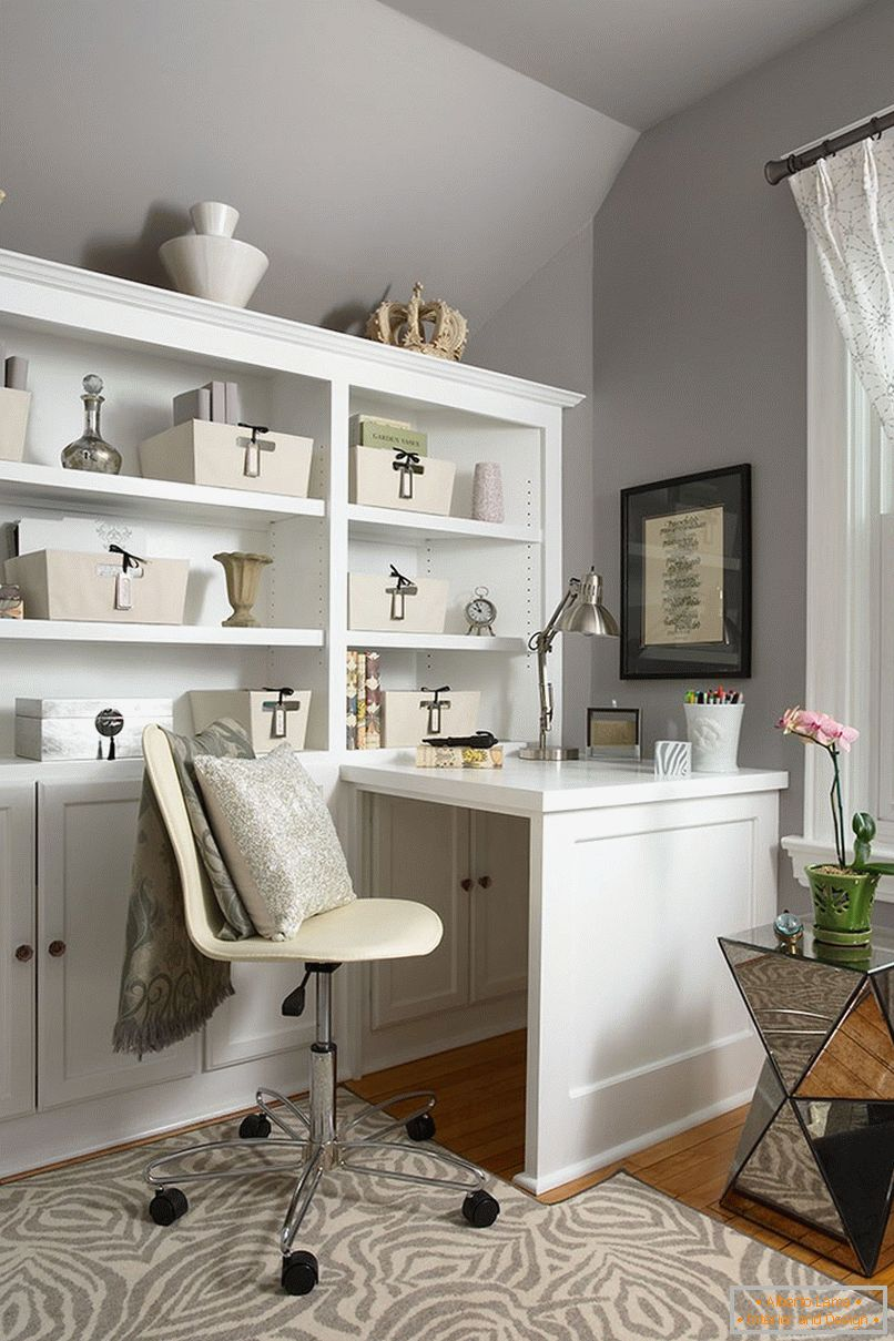 Home office in gray tones