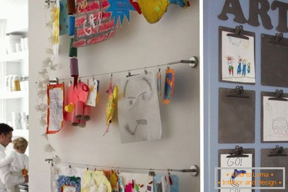 Children's drawings as a wall decoration