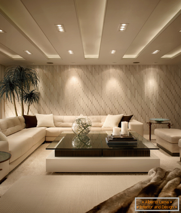 Stylish ceiling design in the living room