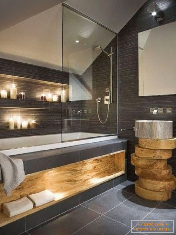 Bathroom with built-in lights and candles