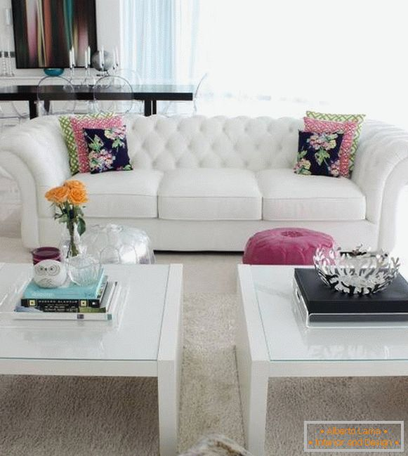 Two white coffee tables