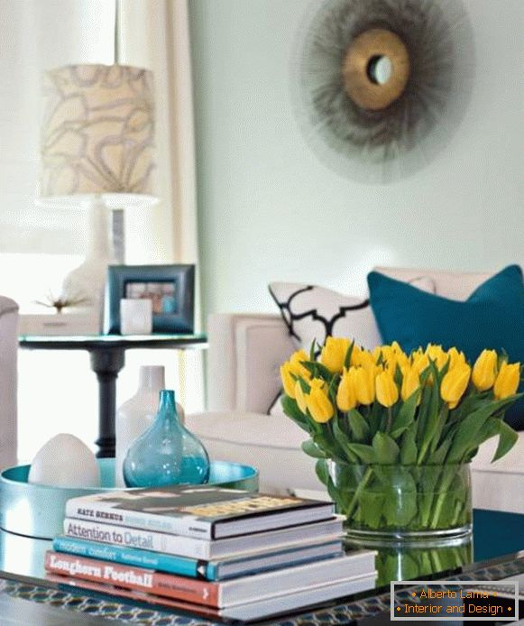 Yellow tulips in the interior