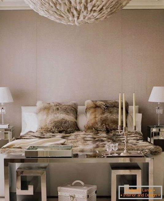 Refined glamorous bedroom with mirrored furniture