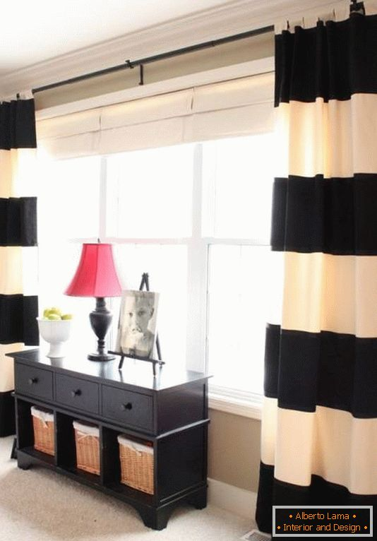 Stylish curtains in the strip for the bedroom