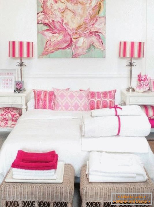 White bedroom with pink accents