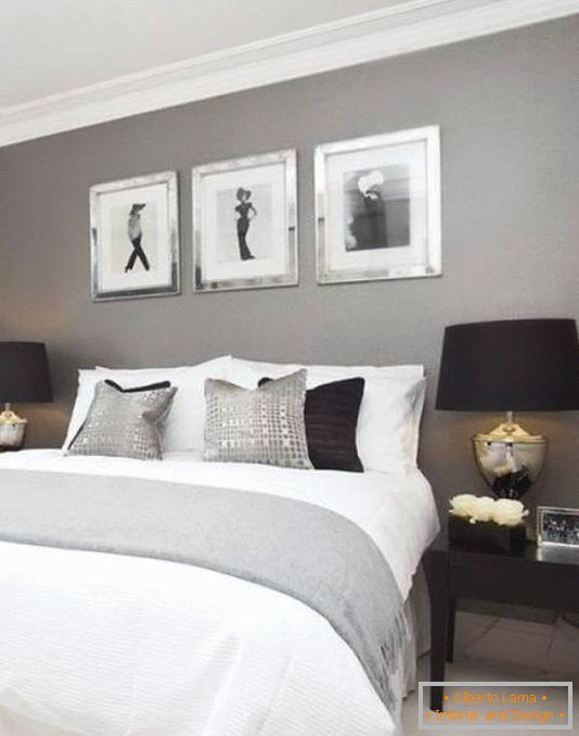 Bedroom design in gray and black tones