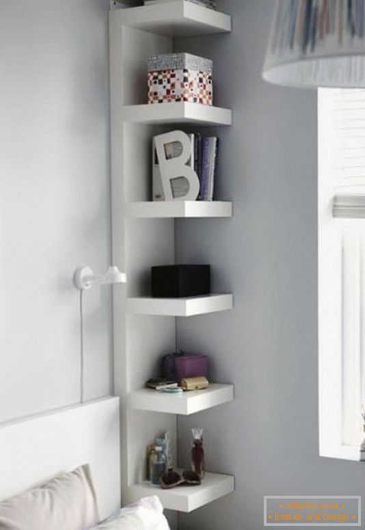 Stylish shelf instead of a bedside table