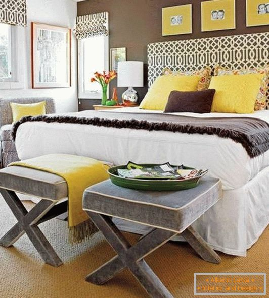 Bedroom decoration with yellow decor