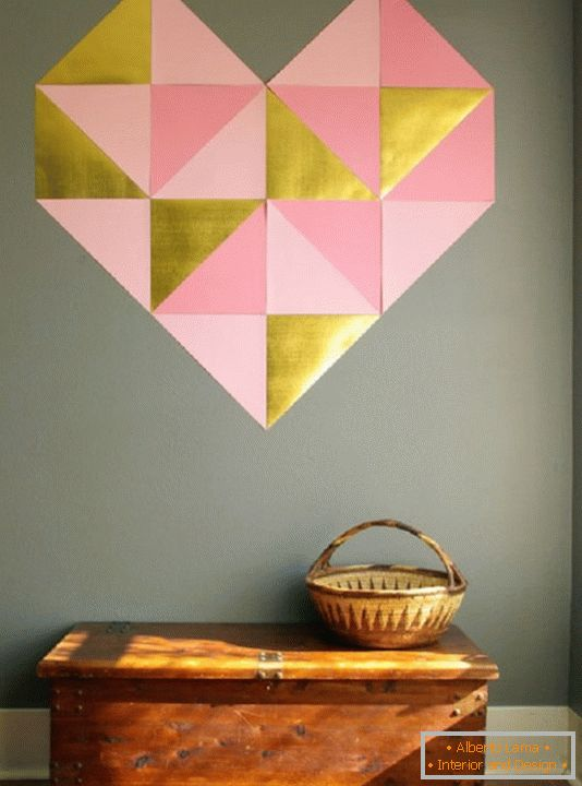 Wall decoration for the hallway to Valentine's Day