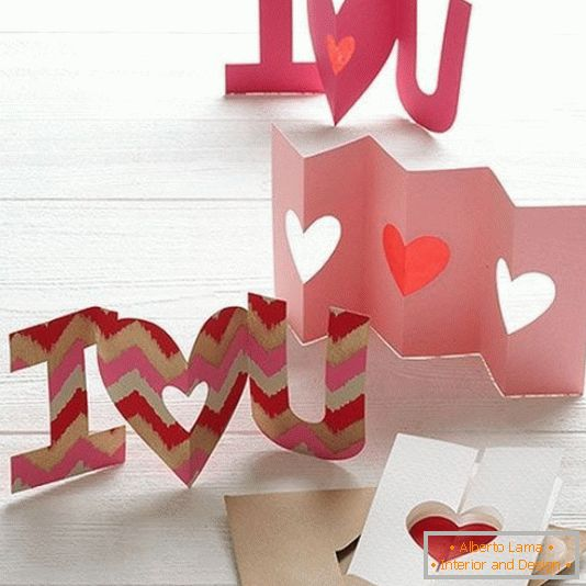 Crafts made of cardboard for Valentine's Day