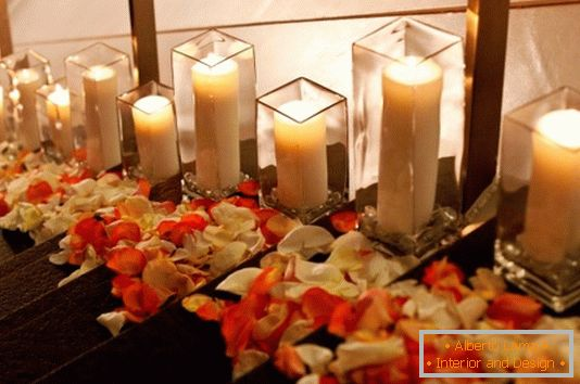 House decoration with flowers and candles for Valentine's Day