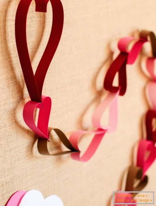 Paper garland as a decoration for Valentine's Day
