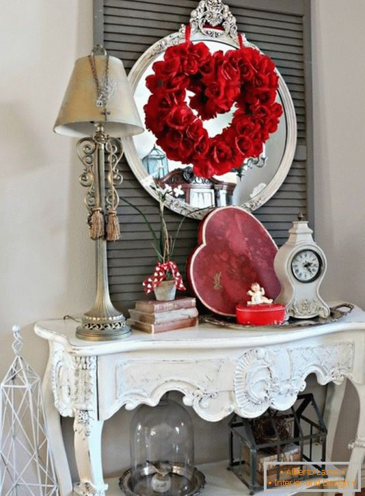 Decoration of a table for Valentine's Day