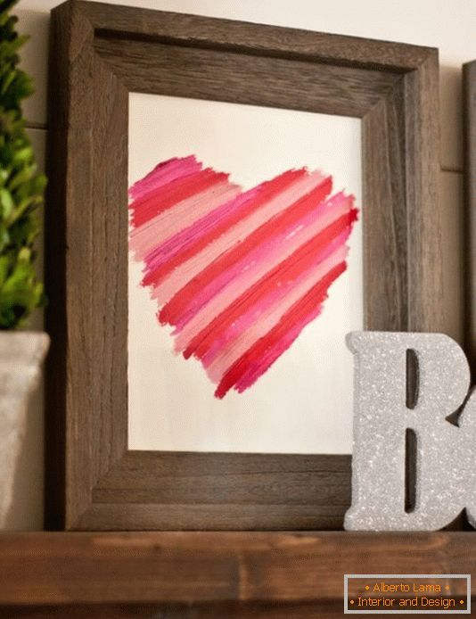 Decor with a lipstick for Valentine's Day