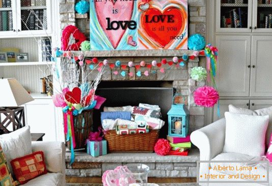 Bright decoration of the house for Valentine's Day