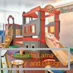 Furniture with slide for children's playroom