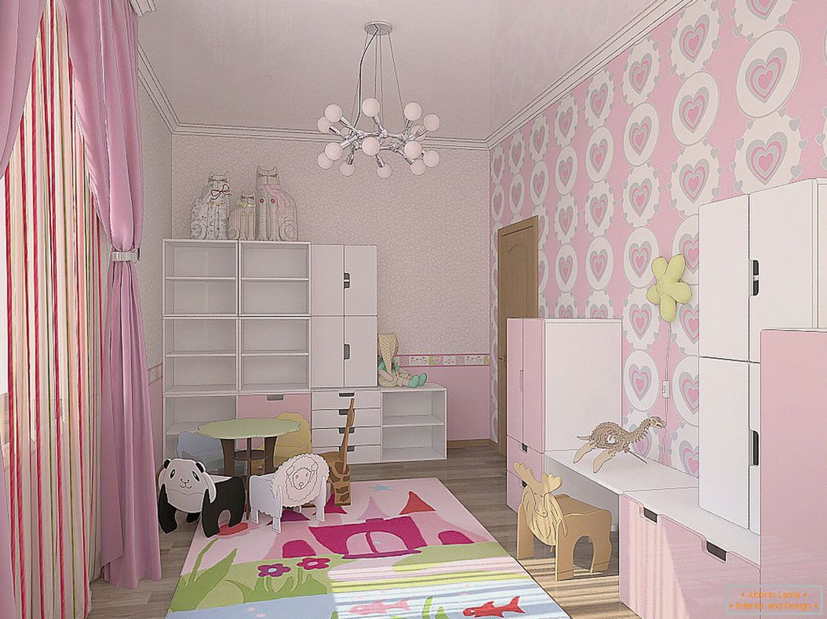 Gently pink shades in the design of the nursery for the little princess