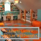 Orange and turquoise in the design of the game room