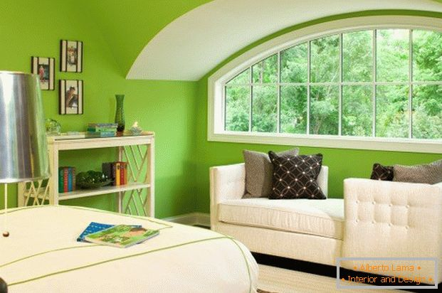 Interior of room in light green color