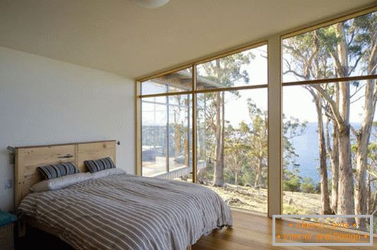 Glass walls in the bedroom