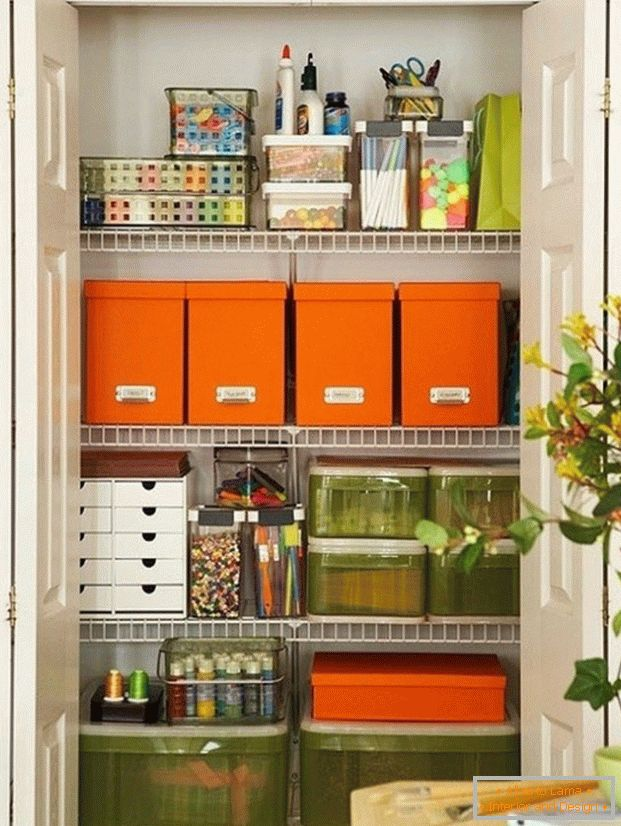 Storage rack in the pantry