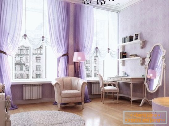 Bedroom in lilac color