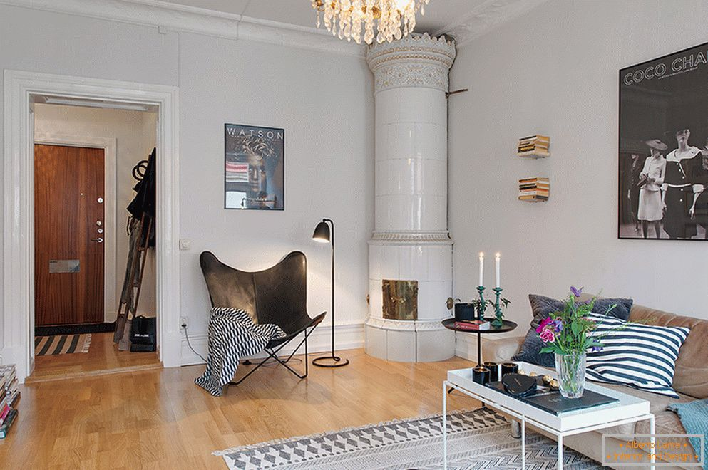 Interior of a two-room apartment in Scandinavian style in Stockholm