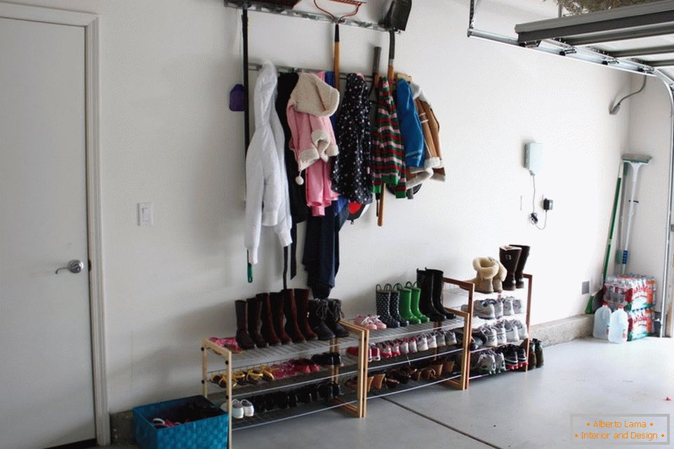 Shelves for shoes in the garage