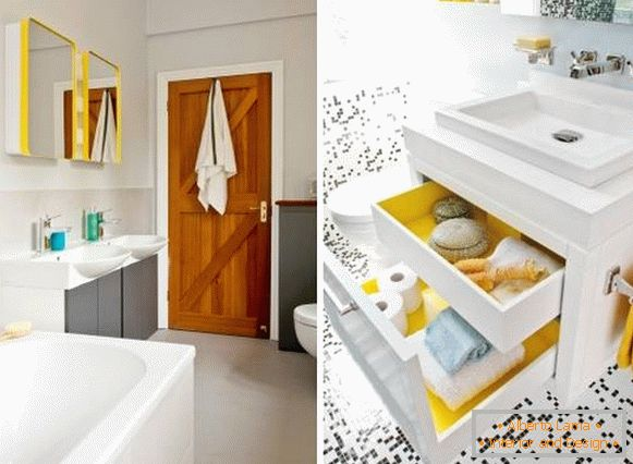 Yellow color in the bathroom interior