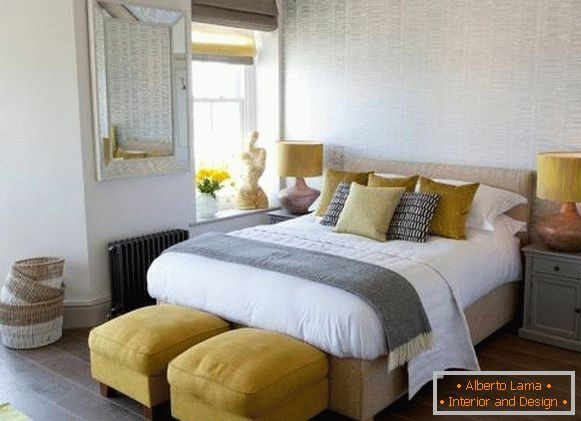 Yellow color in the interior - psychology of color in the bedroom