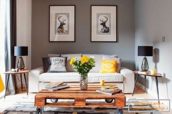 Stylish combination of colors with yellow in the living room