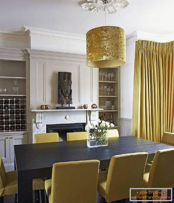 Yellow curtains and furniture in the living room dining room