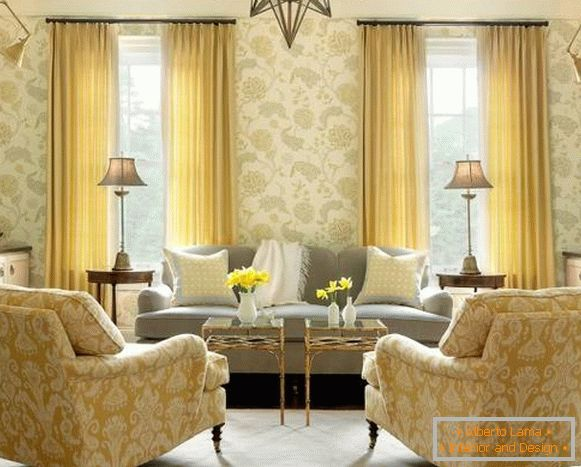 The combination of yellow and aiour in the living room