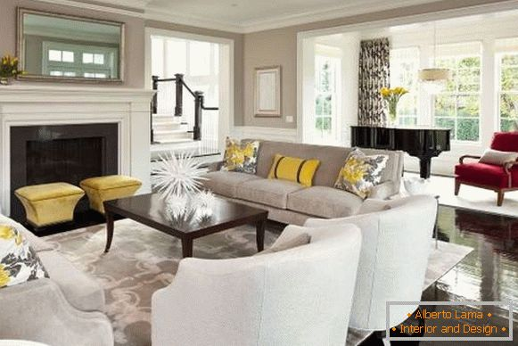Yellow decor in the interior of the living room