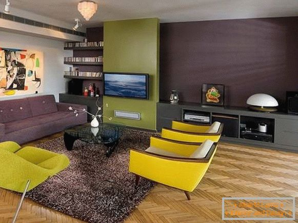 Design of the living room with yellow furniture